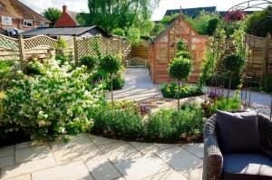 A modern twist on a parterre style garden